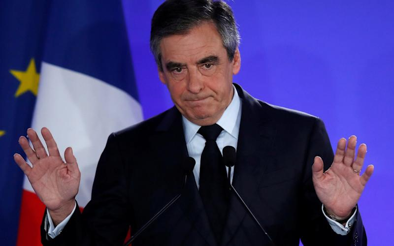 Francois Fillon concedes at his headquarters in Paris after early results in the first round of 2017 French presidential election - Credit: CHRISTIAN HARTMANN/REUTERS