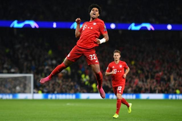 Serge Gnabry (C) celebrates after scoring four goals for Bayern Munich in their 7-2 thrashing of Tottenham Hotspur in the Champions League two weeks ago (AFP Photo/DANIEL LEAL-OLIVAS)