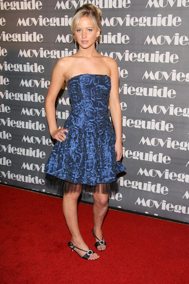 <p>Jennifer Lawrence, 25, has had 10 years to get her red carpet look down pat. We take a look at some of the most memorable red carpet looks since her very first carpet back in 2007 when she attended the 15th Annual Movieguide Faith and Values Awards. Her strapless blue metallic dress turned heads.</p>