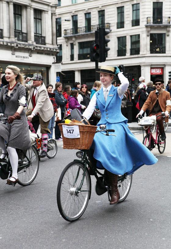 """<div class=""""caption-credit""""> Photo by: bikepretty.com</div>Londoners don their dapper best and take over the city streets during the annual """"Tweed Run."""""""