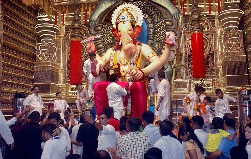"""""""This year, we shall celebrate Ganeshotsav as 'Arogyautsav' with 11-days of blood and plasma donation camps, donate Rs 25 lakh to the CM Relief Fund for corona aid, help families of the soldiers martyred in the recent India-China border skirmish and Maharashtra Police personnel who lost their lives in the ongoing war against virus,"""" Sudhir Salvi, Secretary, Lalbaugcha Raja Sarvajanik Ganeshotsav Mandal (LRSGM) told mediapersons. (Image: PTI)"""