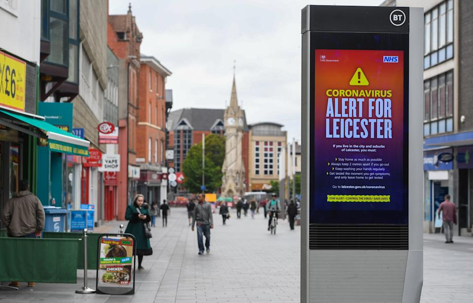 Gallowtree Gate in Leicester, where localised coronavirus lockdown restrictions have been in place since June 29, with non-essential shops ordered to close and people urged not to travel in or out of the area. Health Secretary Matt Hancock is due to decide whether to make changes to Leicester's lockdown after examining the latest coronavirus data. (Photo by Joe Giddens/PA Images via Getty Images)