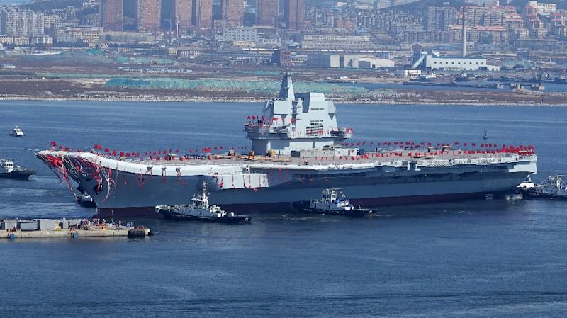 The still unnamed vessel was launched last year with China set to join the ranks of military powers which build their own aircraft carriers (AFP Photo/STR)