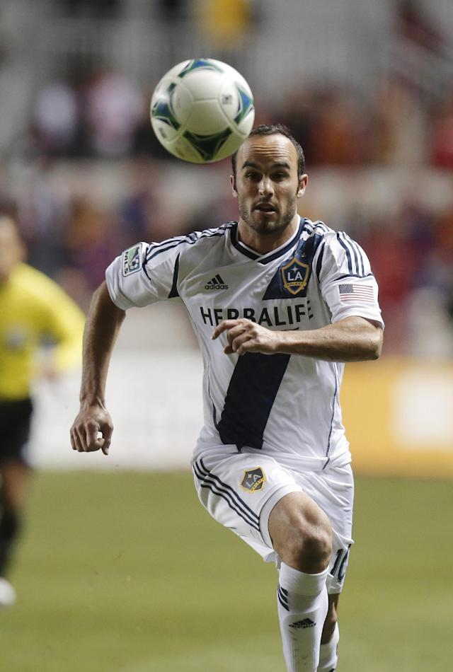 Los Angeles Galaxy's Landon Donovan (10) chases after a ball in the first half during the second leg of the MLS Western Conference semifinal soccer game against Real Salt Lake Thursday, Nov. 7, 2013, in Sandy, Utah. (AP Photo/Rick Bowmer)