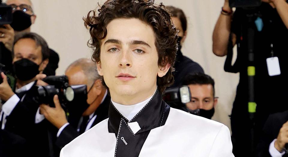 Timothée Chalamet wears bespoke suit and Converse trainers to the 2021 Met Gala in New York.  (Getty Images)