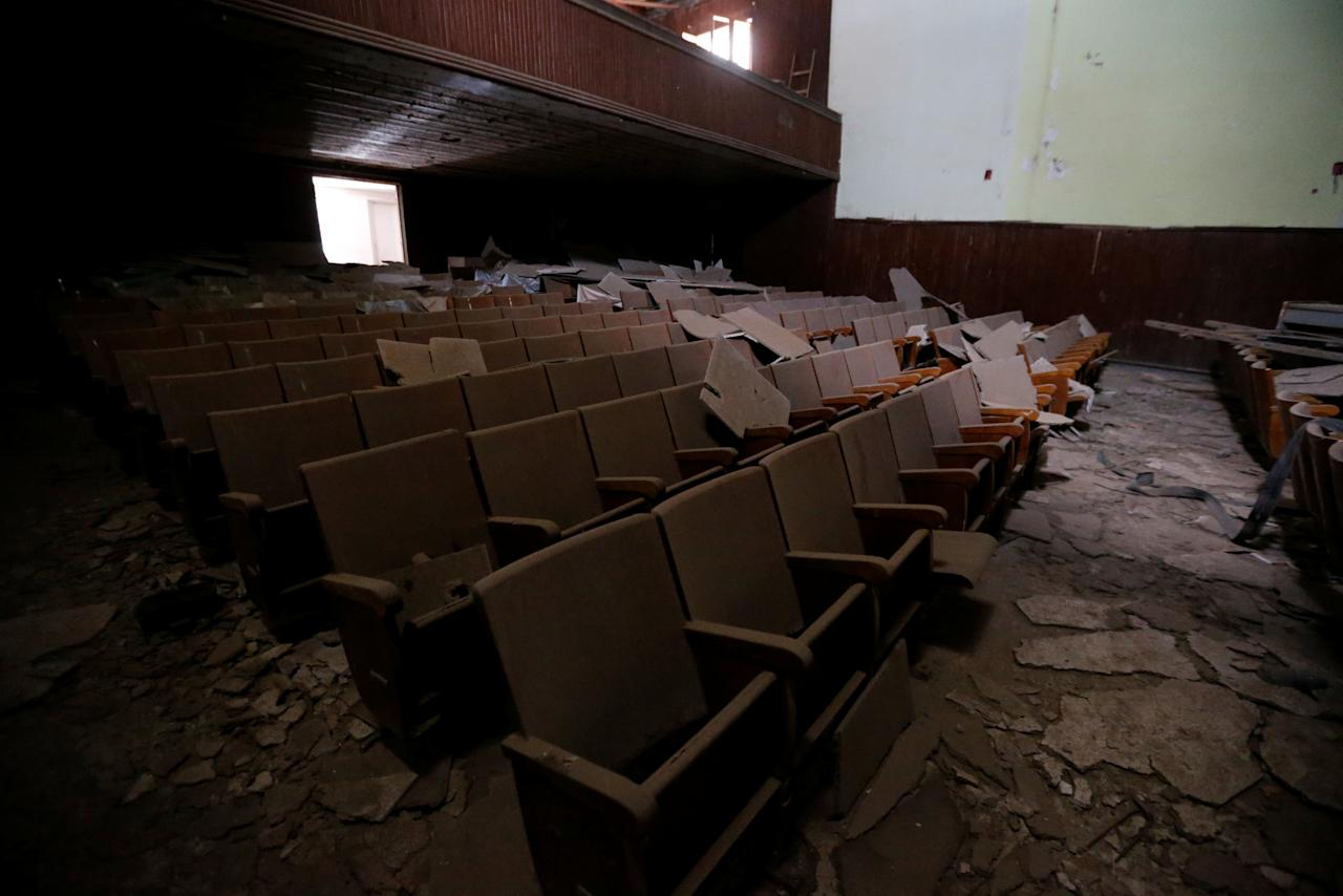 General view of a cinema hall which has been destroyed for years is seen in Tripoli, Libya June 10, 2018. Picture taken June 10, 2018. REUTERS/Ismail Zitouny