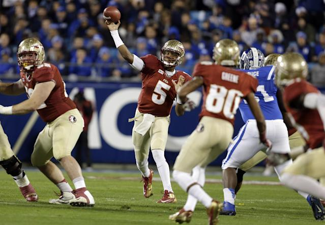 Florida State quarterback Jameis Winston (5) throws a pass against Duke in the first half of the Atlantic Coast Conference Championship NCAA football game in Charlotte, N.C., Saturday, Dec. 7, 2013. (AP Photo/Bob Leverone)