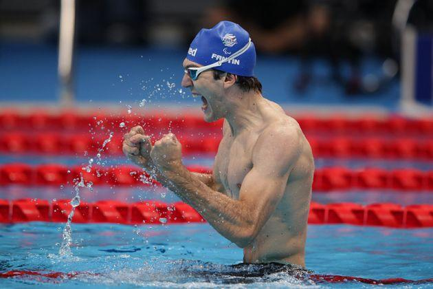 TOKYO, JAPAN - SEPTEMBER 01: Antonio Fantin of Team Italy celebrates after winning the gold medal in the men's 100m Freestyle - S6 final on day 8 of the Tokyo 2020 Paralympic Games at Tokyo Aquatics Centre on September 01, 2021 in Tokyo, Japan. (Photo by Adam Pretty/Getty Images) (Photo: Adam Pretty via Getty Images)