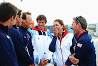 Something tickled Kate as she chatted to the competitors at the London 2012 Olympic Games at the Weymouth & Portland Venue at Weymouth Harbour. (Getty Images)