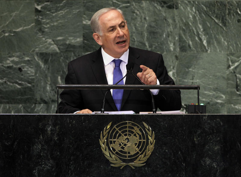 Prime Minister Benjamin Netanyahu of Israel addresses the 67th session of the United Nations General Assembly,  Thursday, Sept. 27, 2012. (AP Photo/Richard Drew)