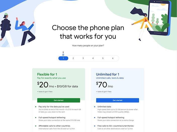 """The """"Flexible"""" plan starts at $20 monthly for a single user, but each GB of data costs $10."""