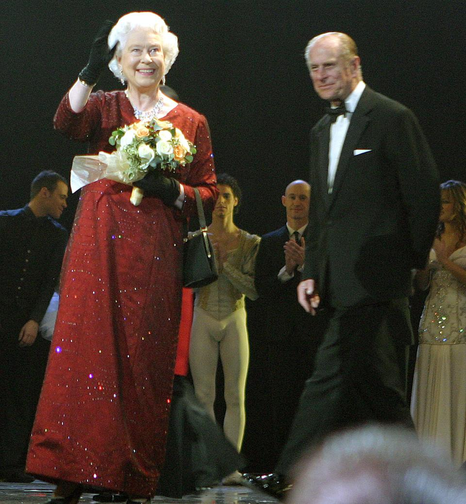 HRH The Queen and HRH The Duke of Edinburgh during The 77th Royal Variety Performance - Show at Wales Millennium Centre in Cardiff, Great Britain. (Photo by Terry George/WireImage)