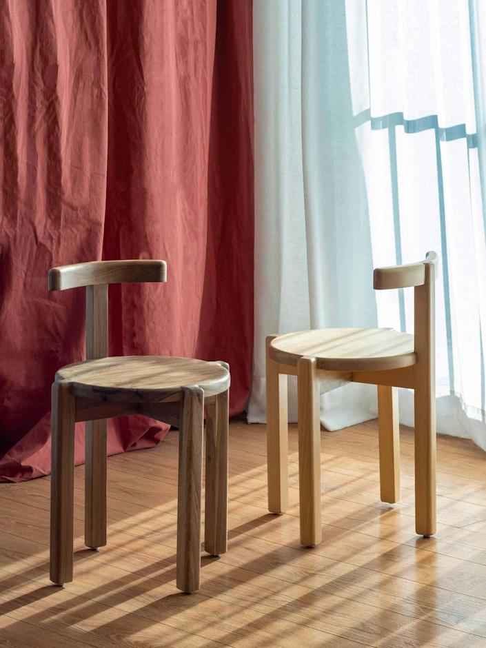 """These beautiful chairs are both structural and soft with the hardwood and rounded corners. Made in <a href=""""https://www.architecturaldigest.com/story/4-latinx-design-studios-we-love-and-think-you-will-too?mbid=synd_yahoo_rss"""" rel=""""nofollow noopener"""" target=""""_blank"""" data-ylk=""""slk:Argentina"""" class=""""link rapid-noclick-resp"""">Argentina</a>, the pieces can also be customized with a number of colored lacquers. $1080, 1stDibs. <a href=""""https://www.1stdibs.com/furniture/seating/dining-room-chairs/orno-contemporary-chair-solid-hardwood-ries/id-f_20468112/"""" rel=""""nofollow noopener"""" target=""""_blank"""" data-ylk=""""slk:Get it now!"""" class=""""link rapid-noclick-resp"""">Get it now!</a>"""