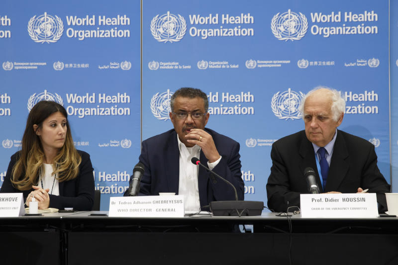 From left, Maria van Kerkhove, Head of Emerging Diseases and Zoonoses Unit, Director General of the World Health Organization, WHO, Tedros Adhanom Ghebreyesus, and Professor Didier Houssin, the Chair of the Emergency Committee hold a press conference  after an Emergency Committee meeting on what scientists have identified as a new coronavirus, at the World Health Organization (WHO) headquarters in Geneva, Switzerland, Wednesday, Jan. 22, 2020. Health authorities are closely watching an outbreak of respiratory illness caused by a new virus from China. Governments are stepping up surveillance of airline passengers from central China and taking other steps to try to control the outbreak. (Salvatore Di Nolfi/Keystone via AP)