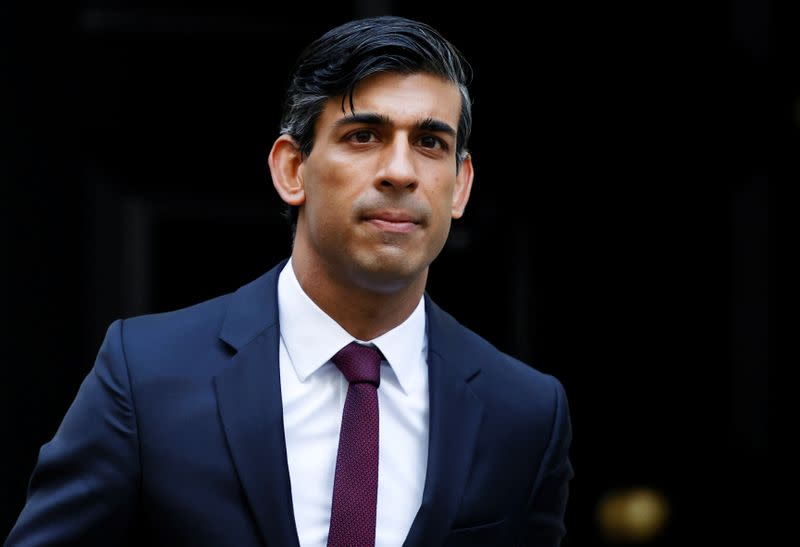 Britain's Chancellor of the Exchequer Rishi Sunak is seen at Downing Street in London