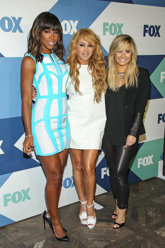 WEST HOLLYWOOD, CA - AUGUST 01: Recording artists (L-R) Kelly Rowland, Paulina Rubio, and Demi Lovato attend the Fox All-Star Party on August 1, 2013 in West Hollywood, California. (Photo by Paul A. Hebert/Getty Images)