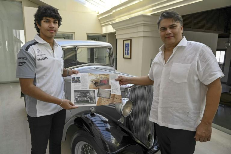 Sanjeev Gardiner (R) and his son Seshaan have made a museum around the 1935 Standard Nine car that once belonged to Prince Philip
