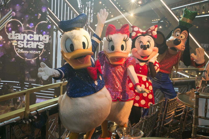 Various Disney characters including Donald and Daisy Duck, Minnie Mouse and Goofy are pictured on the set of Dancing with the Stars.