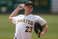 Pittsburgh Pirates starting pitcher Mitch Keller delivers during the first inning of a baseball game against the Los Angeles Dodgers in Pittsburgh, Thursday, June 10, 2021. (AP Photo/Gene J. Puskar)