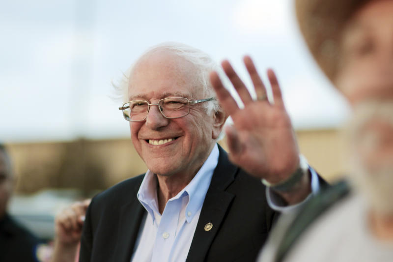 Sen. Bernie Sanders waves during a campaign event in Lawton, Okla., last month. (AP Photo/Gerardo Bello)