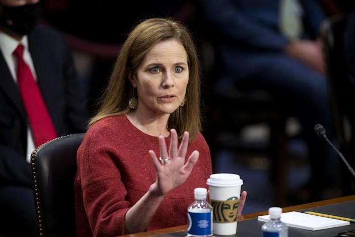 Supreme Court nominee Amy Coney Barrett speaks during her Senate Judiciary Committee confirmation hearing on Capitol Hill in Washington, Tuesday, Oct. 13, 2020. (Rod Lamkey/Pool via AP)