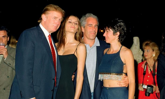 From left, Donald Trump and his then-girlfriend (now wife), Melania Knauss, financier (and future convicted sex offender) Jeffrey Epstein, and British socialite Ghislaine Maxwell pose together at Trump's Mar-a-Lago club in Palm Beach, Florida, on Feb. 12, 2000. Fox News recycled the photo on Sunday, but its viewers would not have seen Trump. (Photo: Davidoff Studios Photography via Getty Images)