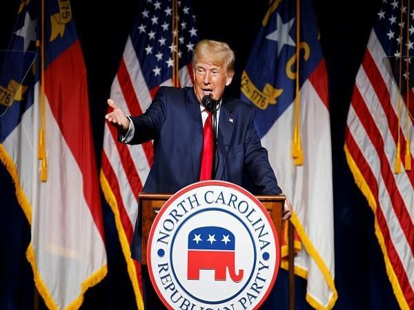 Former US President Donald Trump speaking at the North Carolina Republican Convention. (Credit: Reuters Pictures)