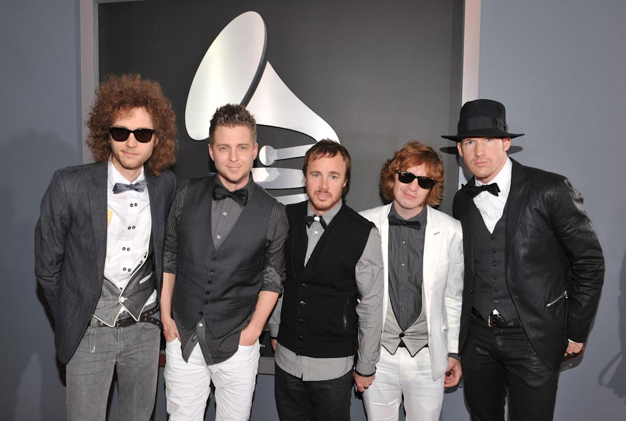 One Republic arrives at the 51st Annual Grammy Awards at the Staples Center on February 8, 2009, in Los Angeles.