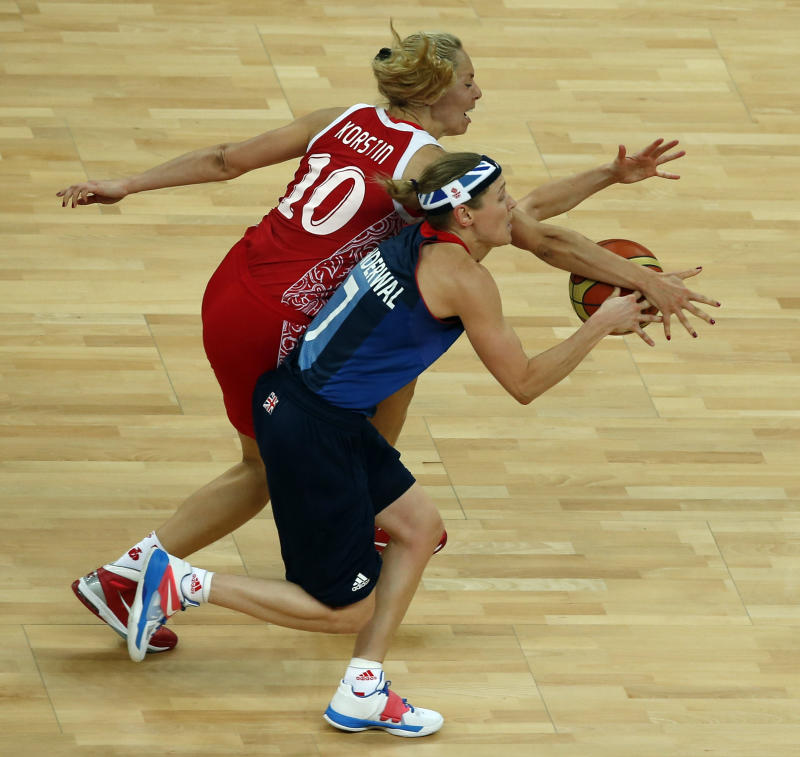 Russia's Korstin runs for the ball with Great Britain's Vanderwal during their Women's preliminary round group B basketball match against Russia at the Basketball Arena during the London 2012 Olympic Games