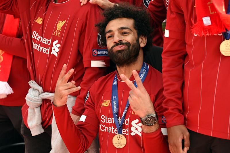 Mohamed Salah and Liverpool celebrated on the streets of their home city on Sunday. (Credit: Getty Images)