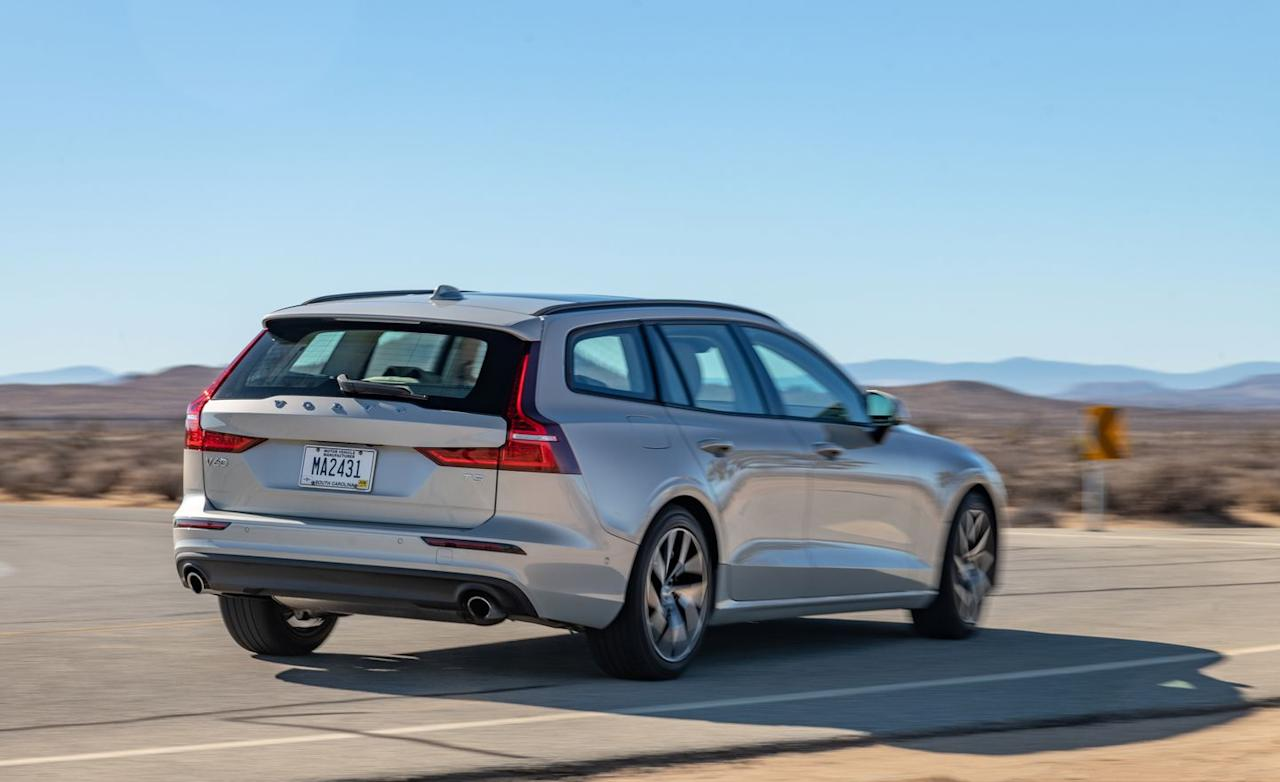 """<p>Although it comfortably outsizes <a rel=""""nofollow"""" href=""""https://www.caranddriver.com/volvo/xc40"""">the less expensive XC40</a> in length, at 3798 pounds, the V60 weighs about the same as the compact crossover.</p>"""