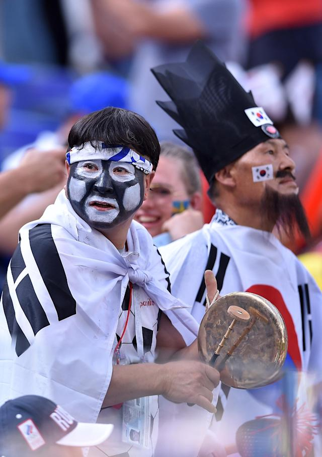 <p>Korea fans during the 2018 FIFA World Cup Russia group F match between Sweden and Korea Republic at Nizhniy Novgorod Stadium on June 18, 2018 in Nizhniy Novgorod, Russia. (Photo by Lukasz Laskowski/PressFocus/MB Media/Getty Images) </p>