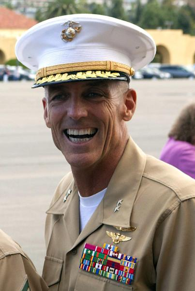 "This photo provided by the Marine Corps, shows Maj. Gen. Gregg Sturdevant at Marine Corps Recruit Depot San Diego, Calf.. In a rare move, Gen. James Amos, the commandant of the Marine Corps, on Monday, Sept. 30, 2013, forced two generals into retirement after concluding they should be held to account for failing to secure a base in Afghanistan against a Taliban attack that killed two Marines. Amos said in announcing his decision that Maj. Gen. Charles M. Gurganus and Sturdevant ""did not take adequate force protection measures"" at Camp Bastion, a sprawling British-run airfield in southwestern Afghanistan that was the Taliban target. (AP Photo/Marine Corps, Cpl. Isaac Lamberth)"