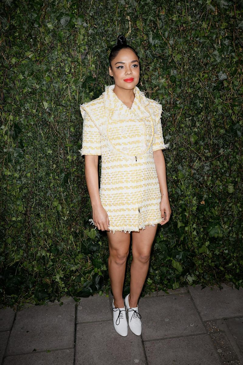 Tessa Thompson What: Chanel Where: Chanel and Charles Finch pre-BAFTA dinner, London When: February 17, 2018