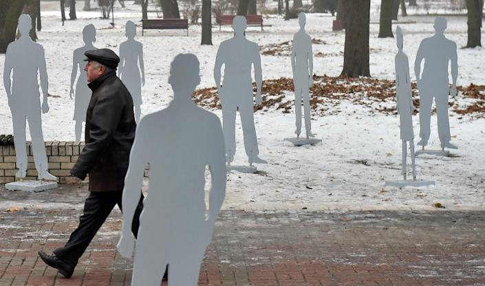 An installation in Kiev called Invisible in Plain Sight aims to raise awareness about human trafficking (AFP Photo/Sergei Supinsky)