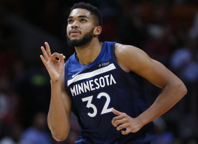 "<a class=""link rapid-noclick-resp"" href=""/nba/players/5432/"" data-ylk=""slk:Karl-Anthony Towns"">Karl-Anthony Towns</a> is one of the NBA's brightest young players —&nbsp;on and off the court. (AP)"