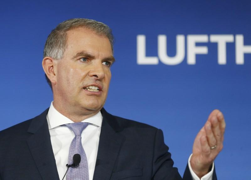 German airline Lufthansa CEO Spohr speaks during the company's annual news conference in Frankfurt
