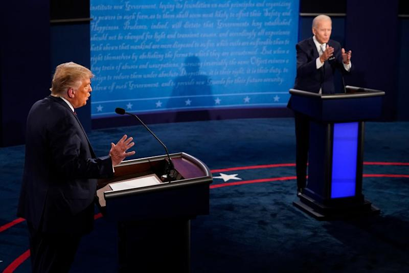 Donald Trump and Democratic presidential nominee Joe Biden debated on Tuesday in Ohio. (Getty Images)