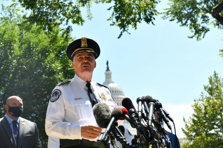 US Capitol Police Chief Thomas Manger speaks to the press near the US Capitol as authorities investigate a possible bomb threat