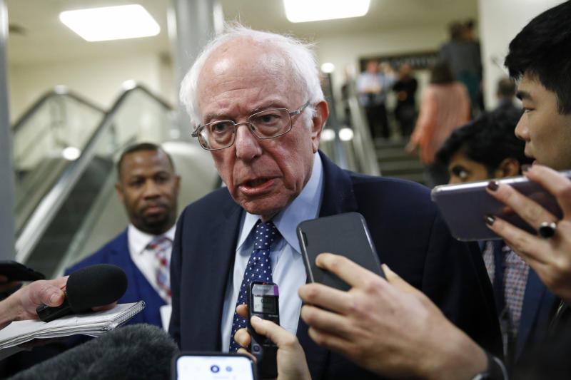 Sen. Bernie Sanders, I-Vt., speaks with reporters during the impeachment trial of President Donald Trump on Jan. 29, 2020. (AP Photo/Patrick Semansky)