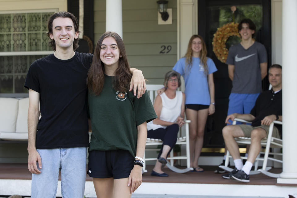 Matthew and Audrey Lorence at their home in Needham, Mass., July 28, 2020. (Katherine Taylor/The New York Times)