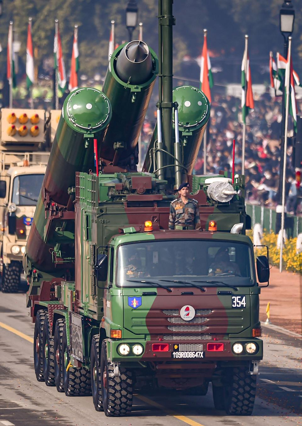New Delhi: Defence Research and Development Organisation (DRDO)s BrahMos missile on display at Rajpath, during the 72nd Republic Day celebrations in New Delhi, Tuesday, Jan. 26, 2021.