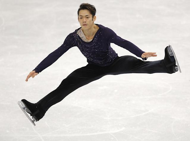 Daisuke Takahashi of Japan competes in the men's free skate figure skating final at the Iceberg Skating Palace during the 2014 Winter Olympics, Friday, Feb. 14, 2014, in Sochi, Russia. (AP Photo/Vadim Ghirda)