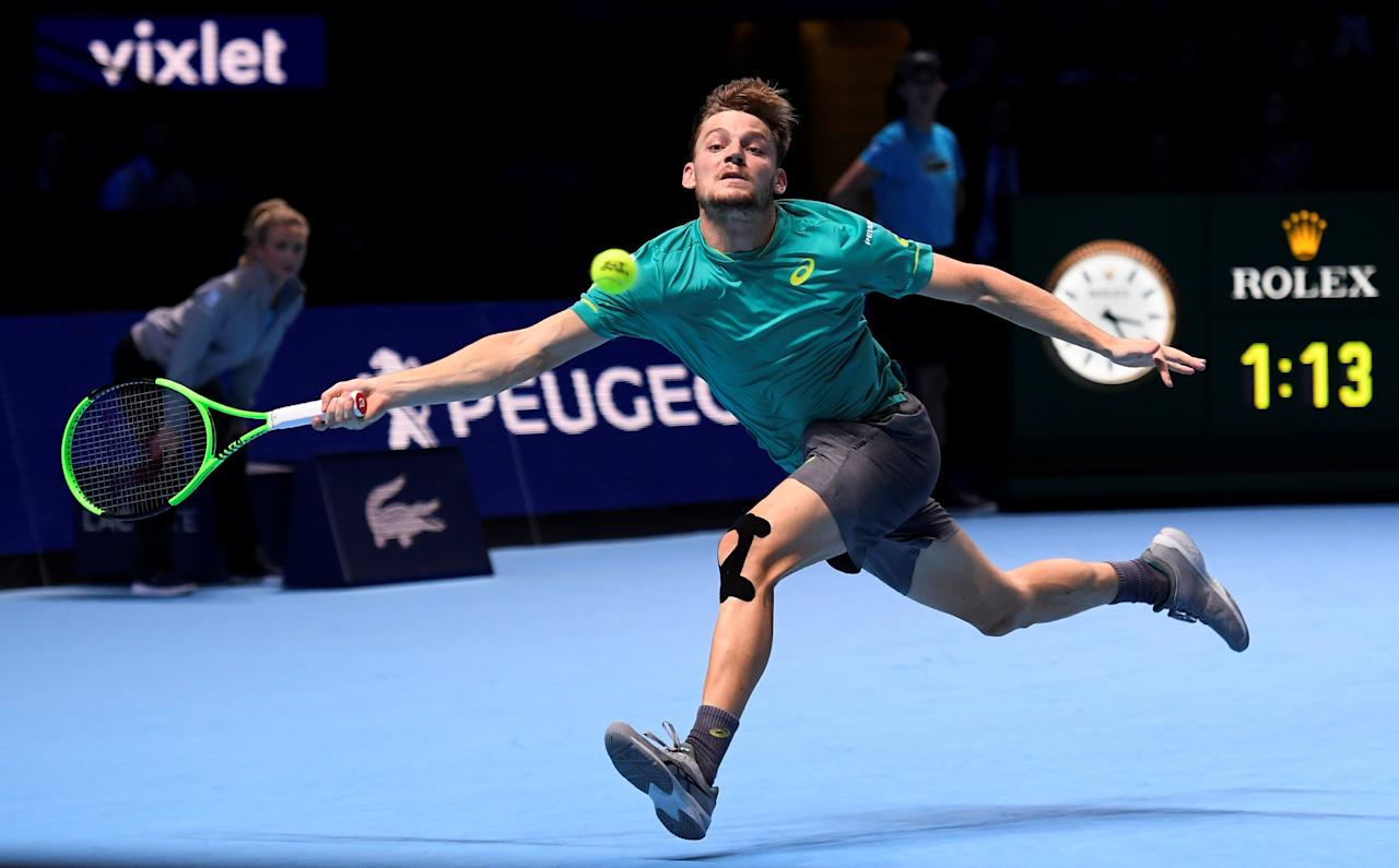 Tennis - ATP World Tour Finals - The O2 Arena, London, Britain - November 18, 2017   Belgium's David Goffin in action during his semi final match against Switzerland's Roger Federer   REUTERS/Toby Melville