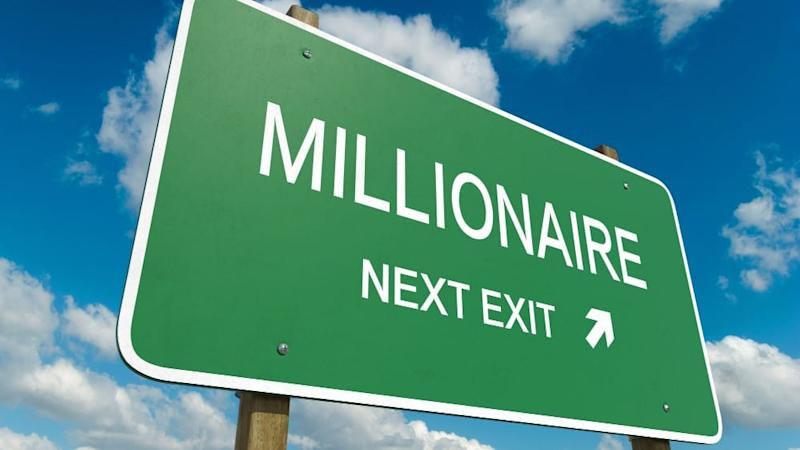 Sign pointing towards route to becoming a millionaire.