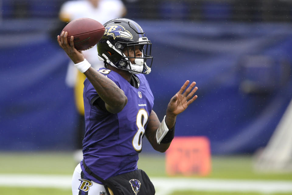 Baltimore Ravens quarterback Lamar Jackson throws a pass during the first half of an NFL football game against the Pittsburgh Steelers, Sunday, Nov. 1, 2020, in Baltimore. Steelers' linebacker Robert Spillane intercepted the pass and returned it for a touchdown. (AP Photo/Nick Wass)