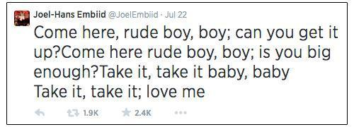Tweet from Joel Embiid