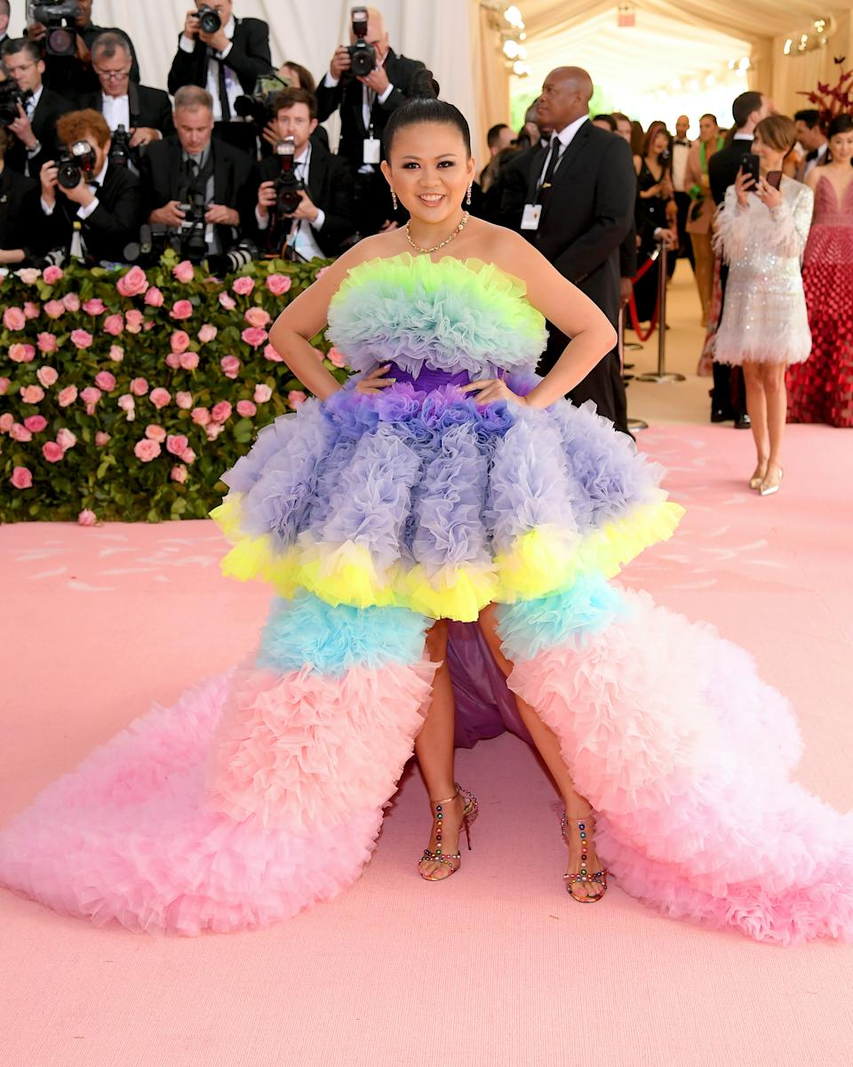 In her second Met Gala appearance, the actress stepped out in a pastel candy floss tiered gown with a fluffy train. Photo: Getty Images