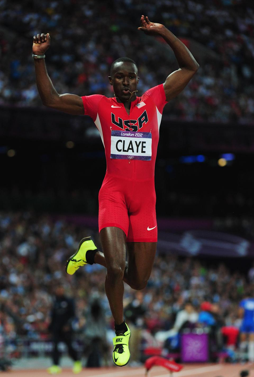 LONDON, ENGLAND - AUGUST 09: Will Claye of the United States competes during the Men's Triple Jump Final on Day 13 of the London 2012 Olympic Games at Olympic Stadium on August 9, 2012 in London, England. (Photo by Stu Forster/Getty Images)