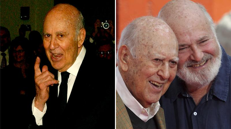 Carl Reiner, pictured on his own (left) and with his son Rob Reiner (right) ha died aged 98 in his home. Source: AAP